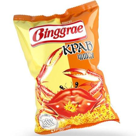 Чипсы Бингре (Binggrae) крабовые