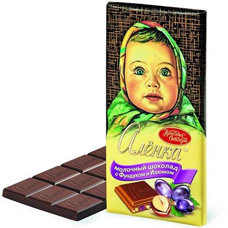 Шоколад Алёнка с фундуком изюмом