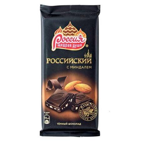 Шоколад Российский темный с миндалем