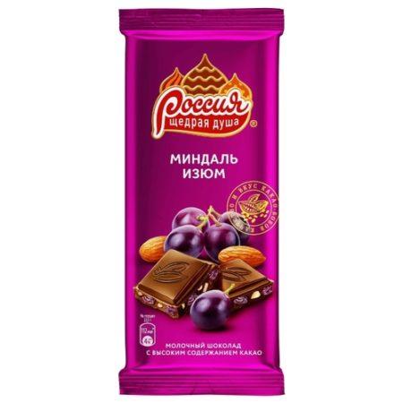 Шоколад Россия с миндалём и изюмом