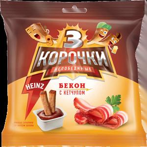 Сухарики «3 Корочки» со вкусом бекона/кетчуп «Heinz»