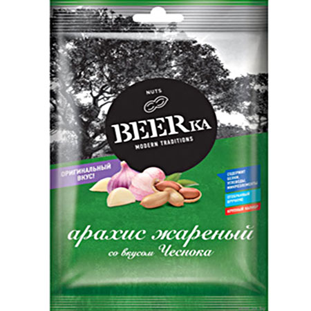 Арахис BEERka жареный со вкусом чеснока, 90 гр.
