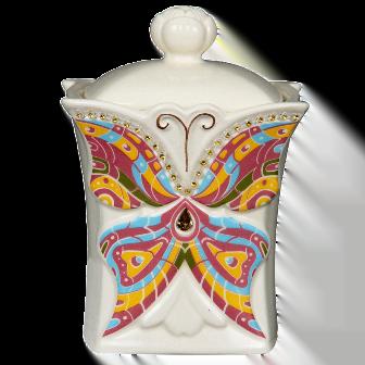 Чай Хилтоп Керамическая чайница Бабочка + Чай Земляника со сливками