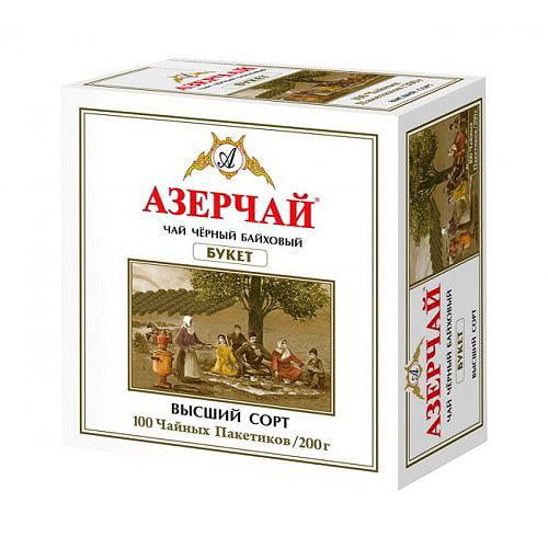 Чай Азерчай черный байховый Букет 100 пакетиков