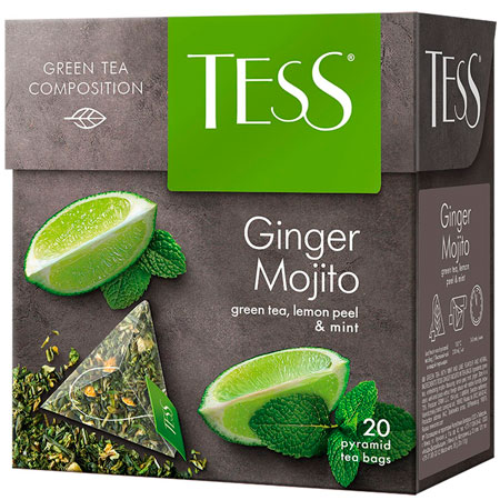 Чай Тесс (Tess) Джинджер Мохито зелёный 20 пирамидок