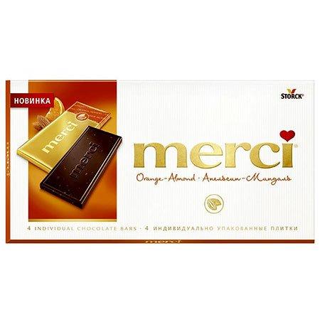 Конфеты Мерси (Merci) Апельсин миндаль горький шоколад 72% 100г