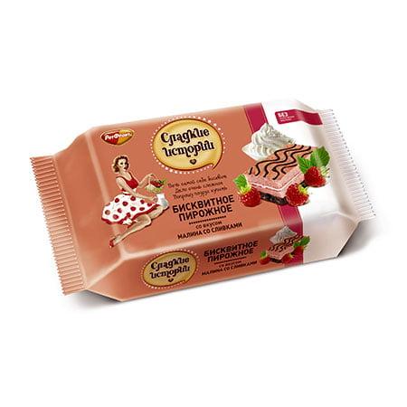 Пирожное бисквитное Сладкие истории малина со сливками, 240 гр.