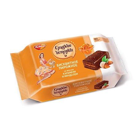 Пирожное бисквитное Сладкие истории карамель с миндалем, 240 гр.