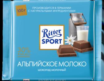Шоколад Риттер Спорт Альпийское молоко