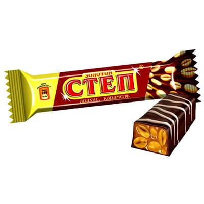 """Шоколадный батончик """"Степ золотой"""" нуга с орехом 50гр."""