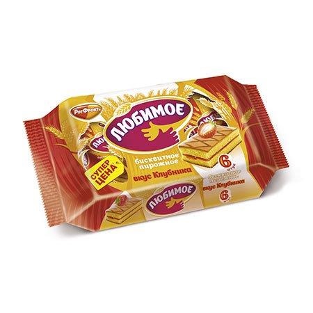 Пирожное бисквитное Любимое вкус клубника, 210 гр.