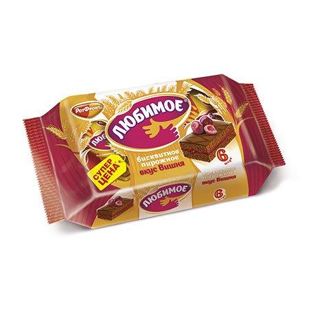 Пирожное бисквитное Любимое вкус вишня, 210 гр.