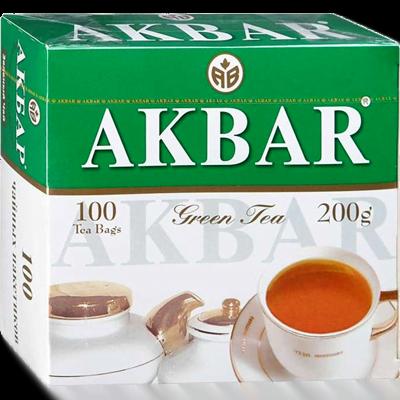 Чай Акбар Зелёный Китайский 100 пакетиков с/я