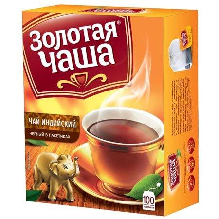 Чай Золотая Чаша 100 пакетов с ярлычками