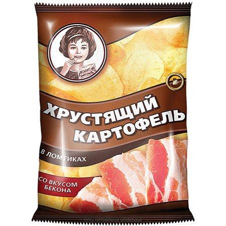 """Чипсы """"Хрустящий картофель"""" в ломтиках, бекон 160 гр."""