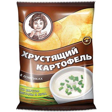"""Чипсы """"Хрустящий картофель"""" в ломтиках, сметана/лук 160 гр."""