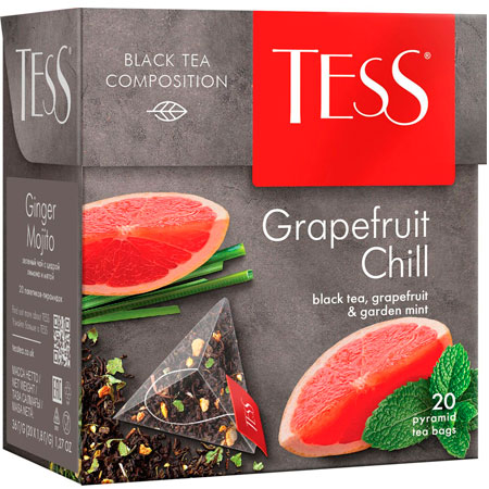 Чай Тесс (Tess) Грейпфрут Чилл чёрный 20 пирамидок