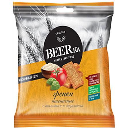 BEERka гренки Пшеничные Томат/Базилик/Чеснок 60г+25 мл