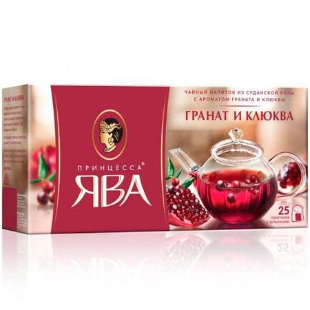 Чайный напиток Принцесса Ява, Гранат и клюква 25 пакетиков