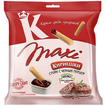 Сухарики «Кириешки Maxi» Черный перц/Соус барбекю 60г.+25мл.