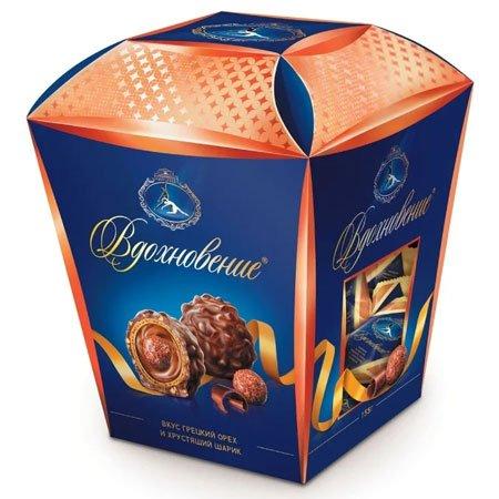 Конфеты набор Вдохновение Грецкий орех и хрустящий шарик 155г