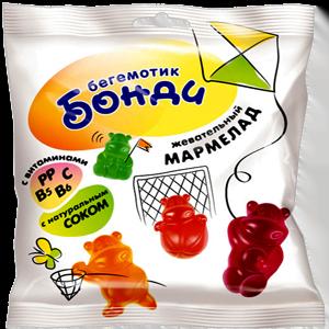Жевательный мармелад «Бегемотик Бонди» с соком ягод и фруктов, 70г