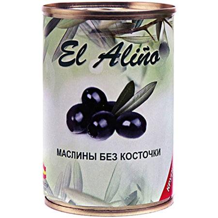 """Маслины """"El Alino"""" без косточки крупные ж/б, 270 мл."""