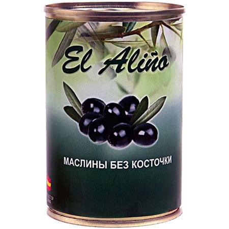 """Маслины """"El Alino"""" без косточки ж/б, 270 мл."""