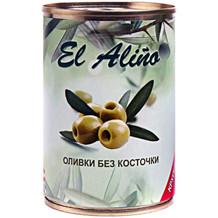 "Оливки ""El Alino"" крупные без косточки ж/б, 290 мл."