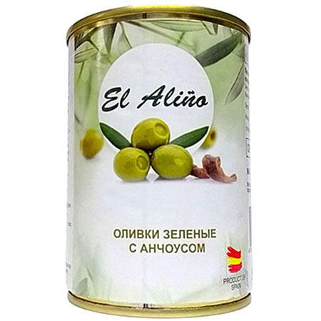 """Оливки """"El Alino"""" без косточки с анчоусом ж/б, 290 мл."""