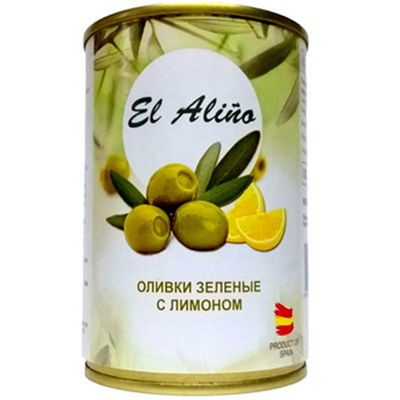 "Оливки ""El Alino"" без косточки с лимоном ж/б, 290 мл."