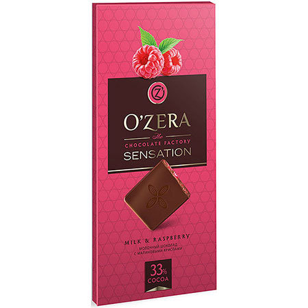 Шоколад O`Zera молочный Milk & Raspberry, 100 г
