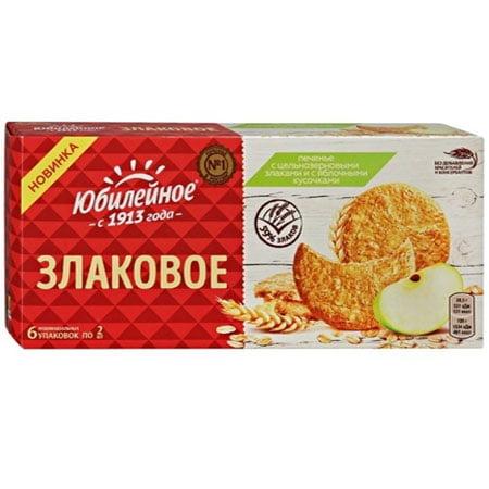 Печенье Юбилейное цельнозерновые злаки/яблоки, 171 г.