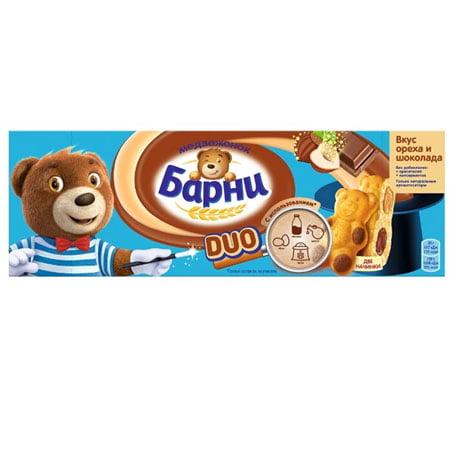 Пирожное Медвежонок Барни бисквитное DUO орех-шоколад, 150г
