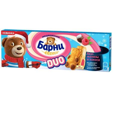 Пирожное Медвежонок Барни бисквитное DUO малина-кокос, 150г