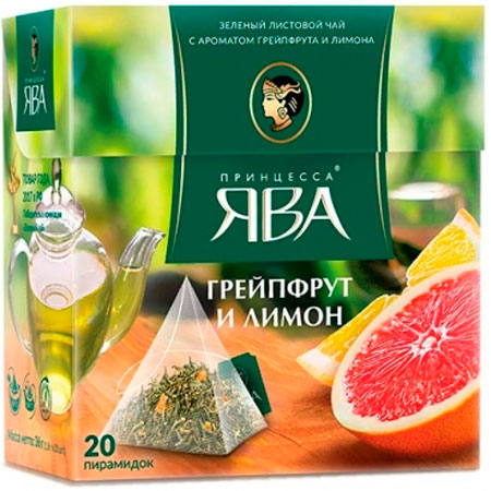 Чай Принцесса Ява зелёный грейпфрут и лимон 20 пирамидок