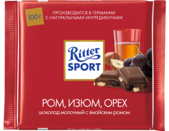 Шоколад Риттер Спорт ром, изюм, орех