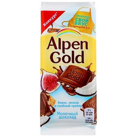 Шоколад Альпен Голд молочный инжир/кокос/крекер 85г.