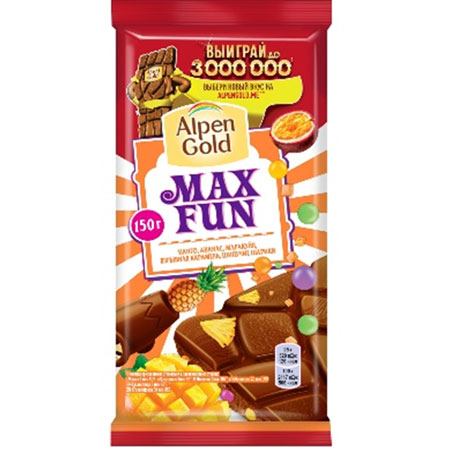 Шоколад Альпен Голд Максфан тропический микс/карамель, 150гр
