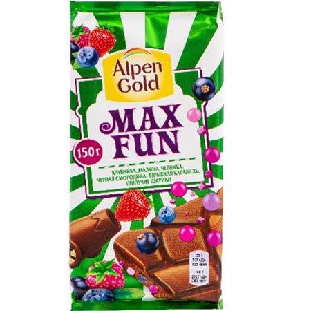 Шоколад Альпен Голд Максфан ягодный микс/карамель, 150гр