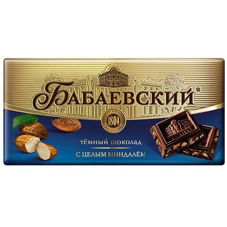 Шоколад Бабаевский темный с целым миндалем 100г