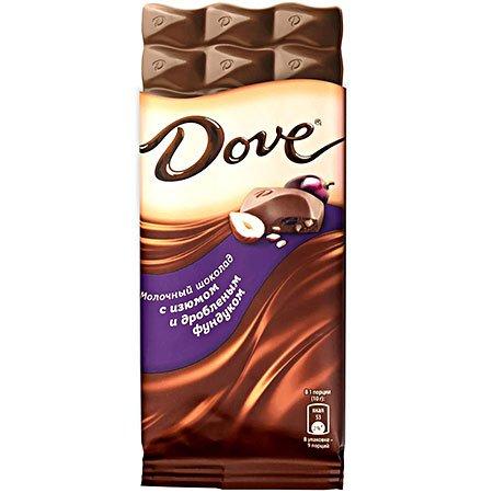 Шоколад Dove Молочный Фундук/Изюм, 90г.