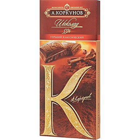Шоколад плиточный Коркунов Горький, 55% какао, 90г.