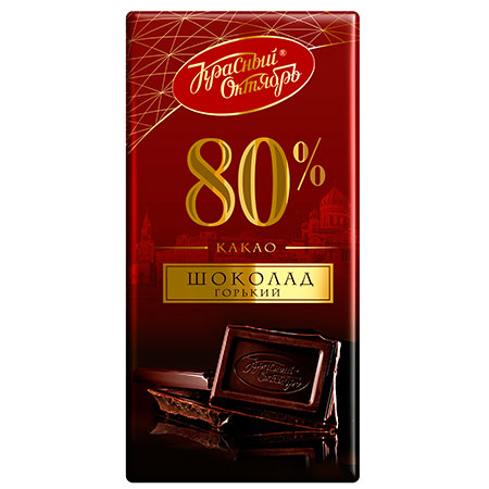 """Шоколад """"Красный октябрь"""" горький 80% какао 75г."""
