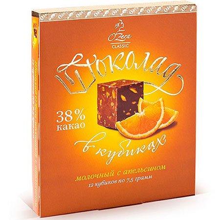 Шоколад O`Zera молочный с апельсином 38%, 90 г