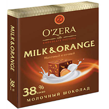 Шоколад O`Zera Мilk&Orange молочный с апельсином 38%, 90 г
