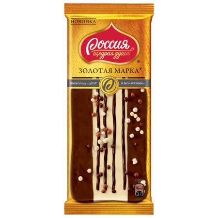 """Шоколад Россия """"Золотая Марка"""" Дуэт в молочном, 85г."""