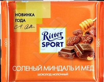 Шоколад Риттер Спорт Солёный миндаль, мёд