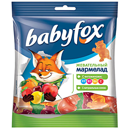 Жевательный мармелад «Babyfox» Бегемоты 70г.
