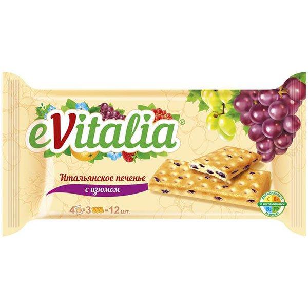 Печенье затяжное Evitalia итальянское с изюмом